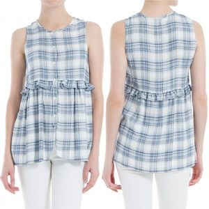 Max Studio Button Front Ruffled Plaid Top Blouse